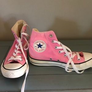 Women's pink high top converses